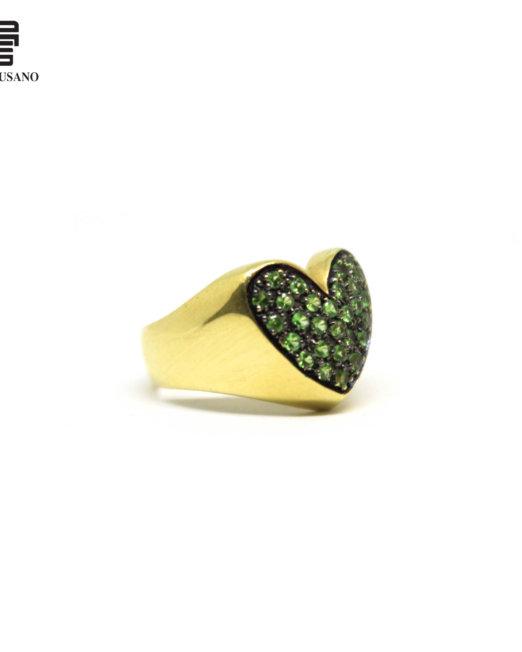 anello cuore verde