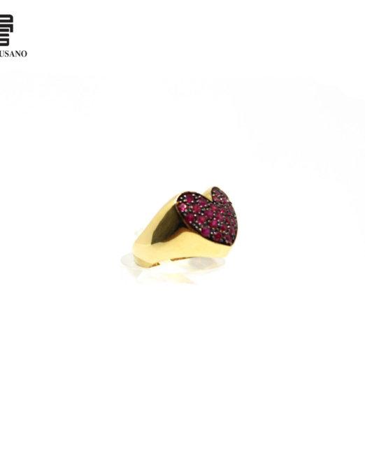 anello rubino cuore lato