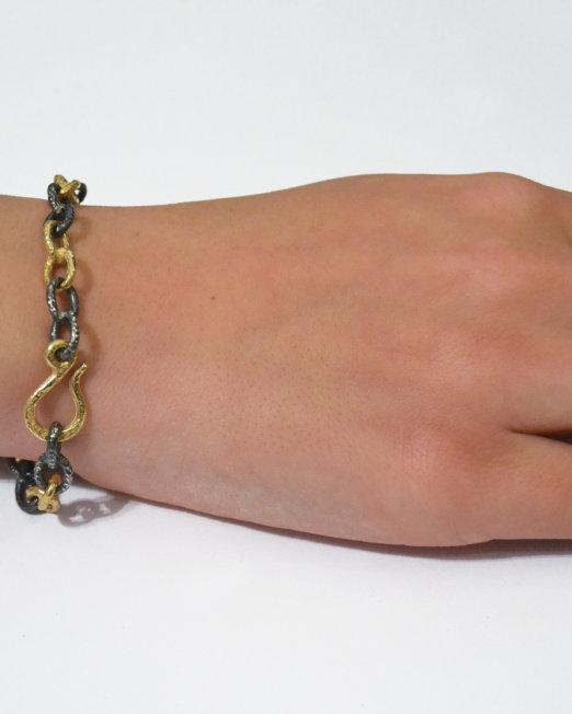 bracciale maglia ovale oro e argento